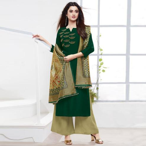 Exclusive Dark Green Colored Partywear Embroidered Silk Palazzo Suit