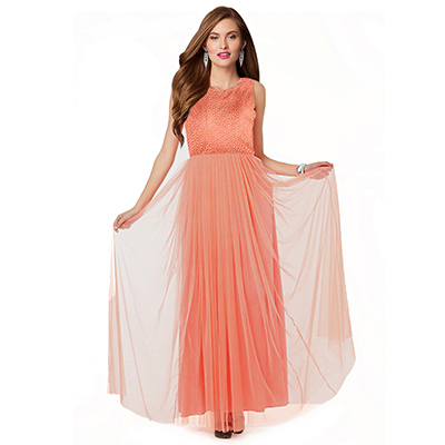 Light Orange Party Wear Gown