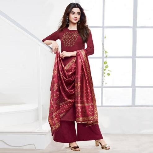 Radiant Maroon Colored Partywear Embroidered Silk Palazzo Suit