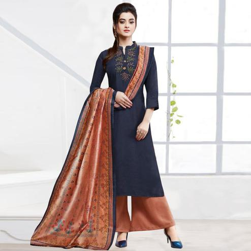 Jazzy Navy Blue Colored Partywear Embroidered Silk Palazzo Suit