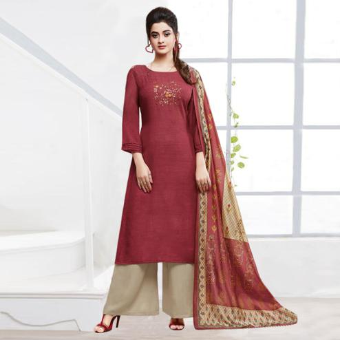 Energetic Deep Red Colored Partywear Embroidered Silk Palazzo Suit