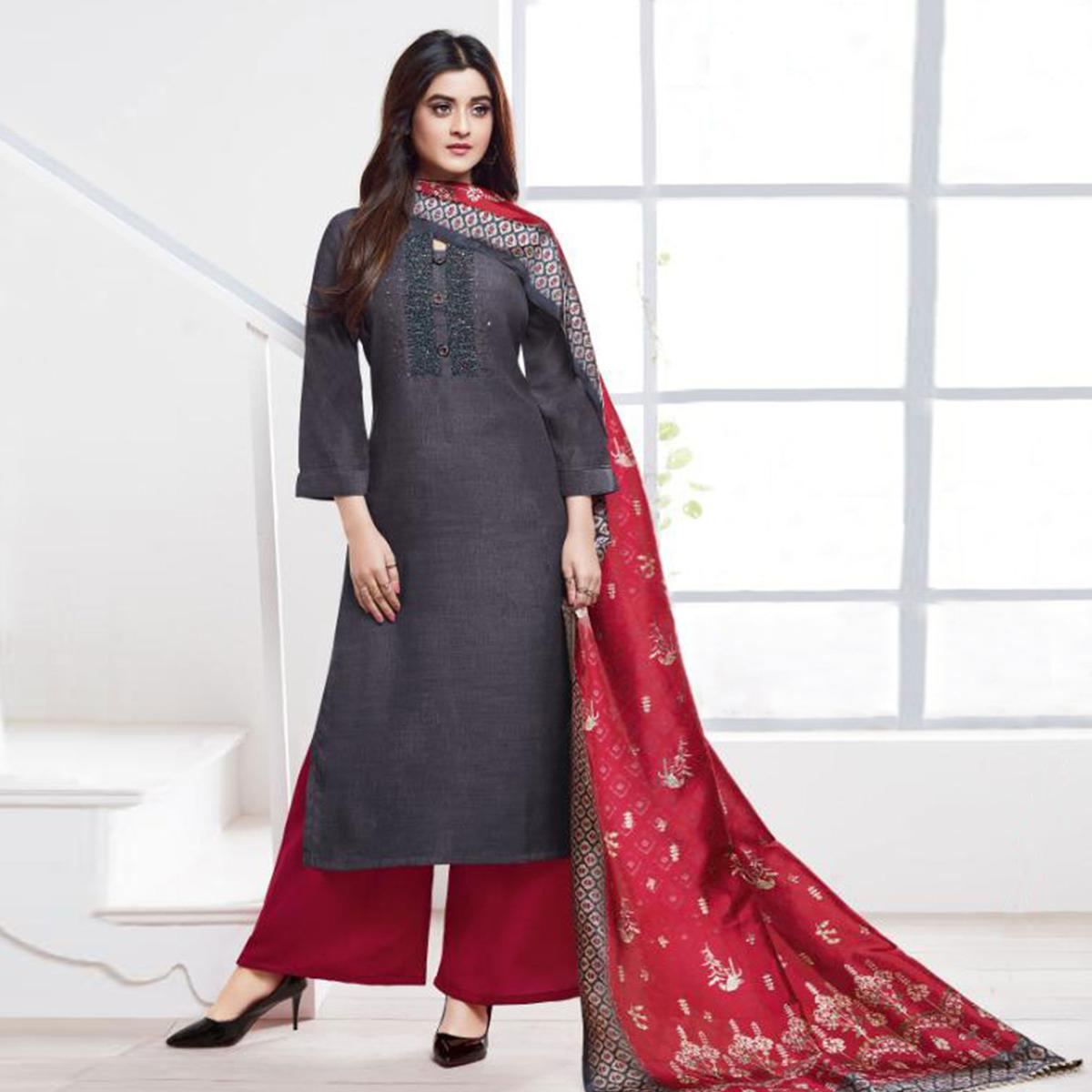 Gleaming Grey Colored Partywear Embroidered Silk Palazzo Suit