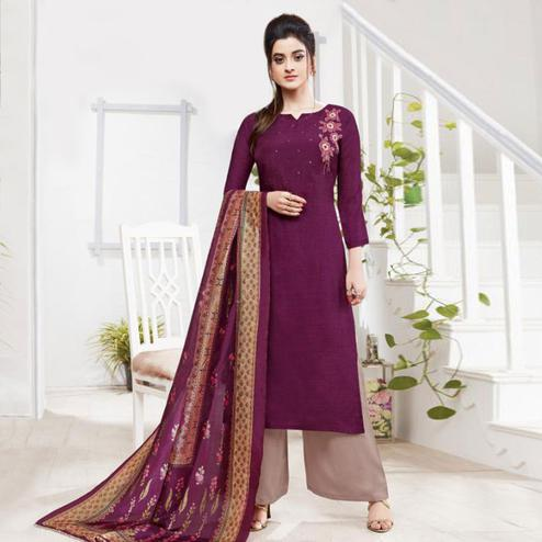 Fantastic Purple Colored Partywear Embroidered Silk Palazzo Suit