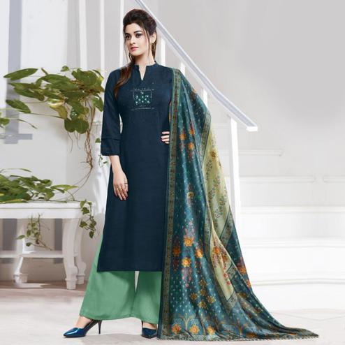 Gorgeous Dark Blue Colored Partywear Embroidered Silk Palazzo Suit