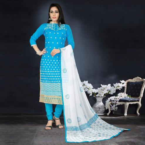 Desirable Blue Colored Party Wear Embroidered Cotton Dress Material