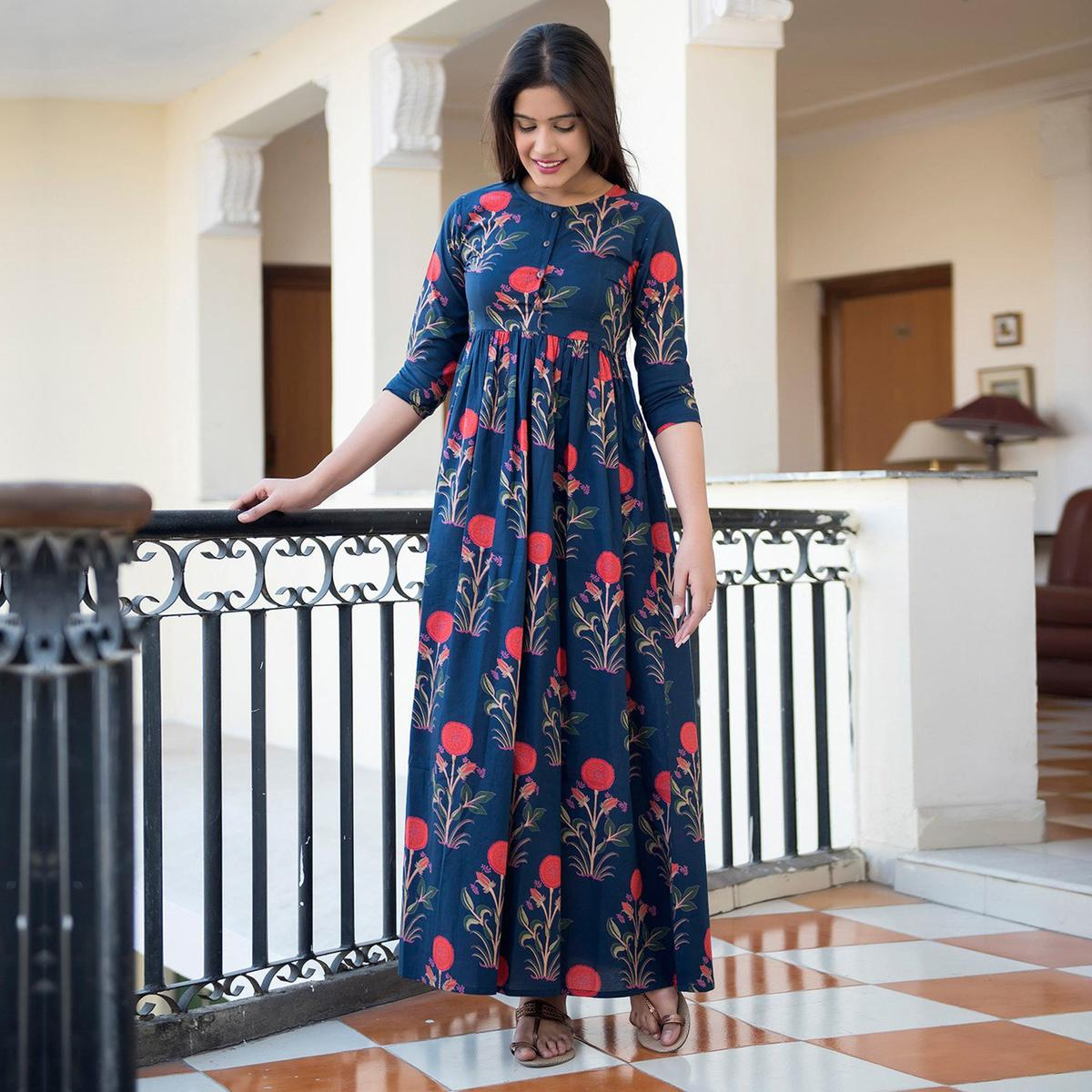 Capricious Navy Blue Colored Casual Printed Muslin Blend Gown