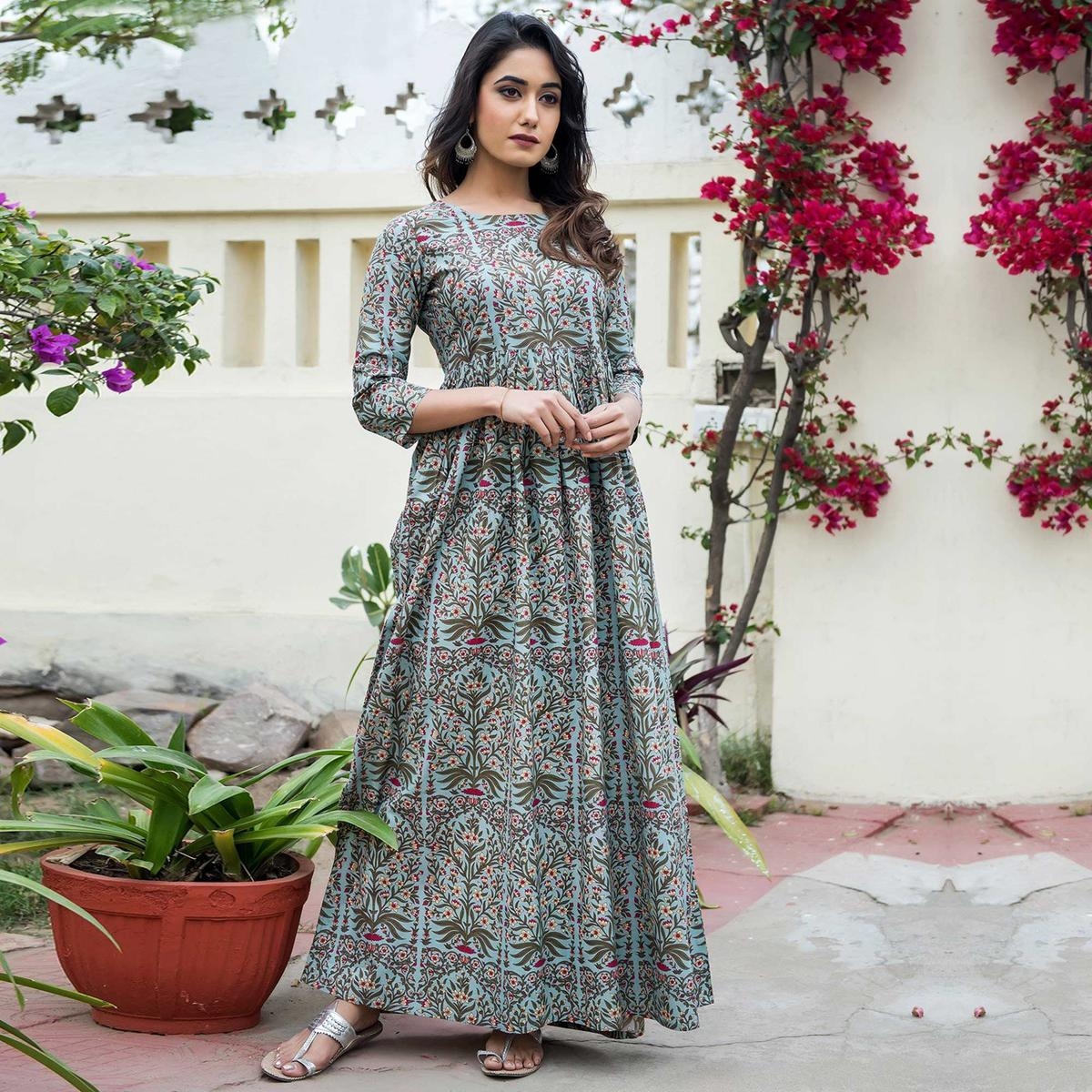Entrancing Light Blue Colored Casual Printed Muslin Blend Gown