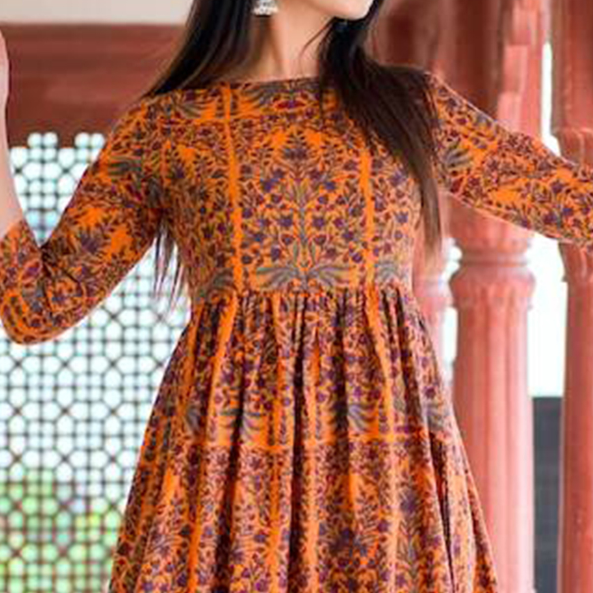 Groovy Orange Colored Casual Printed Muslin Blend Gown