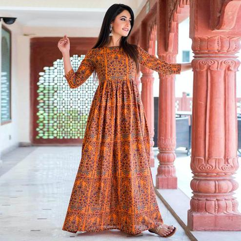 Groovy Orange Colored Casual Printed Pure Muslin Gown