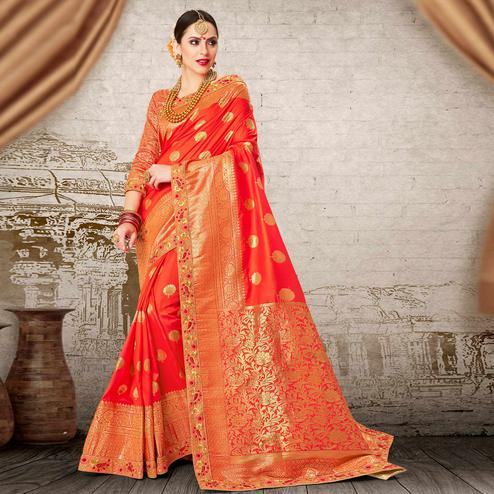 Trendy Coral Red Colored Festive Wear Woven Work Banarasi Silk Saree