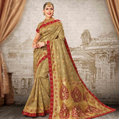 Energetic Chiku Colored Festive Wear Woven Work Banarasi Silk Saree
