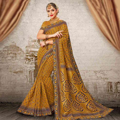 Gleaming Dark Yellow Colored Festive Wear Woven Work Banarasi Silk Saree