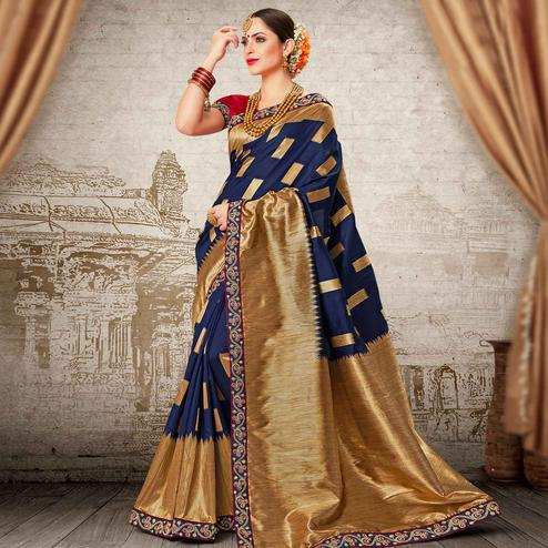 Mesmeric Navy Blue Colored Festive Wear Woven Work Banarasi Silk Saree