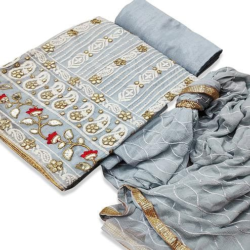 Eye-catching Grey Colored Partywear Embroidered Chanderi Cotton Dress Material