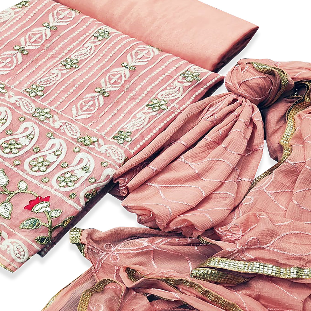 Amazing Peach Colored Partywear Embroidered Chanderi Cotton Dress Material