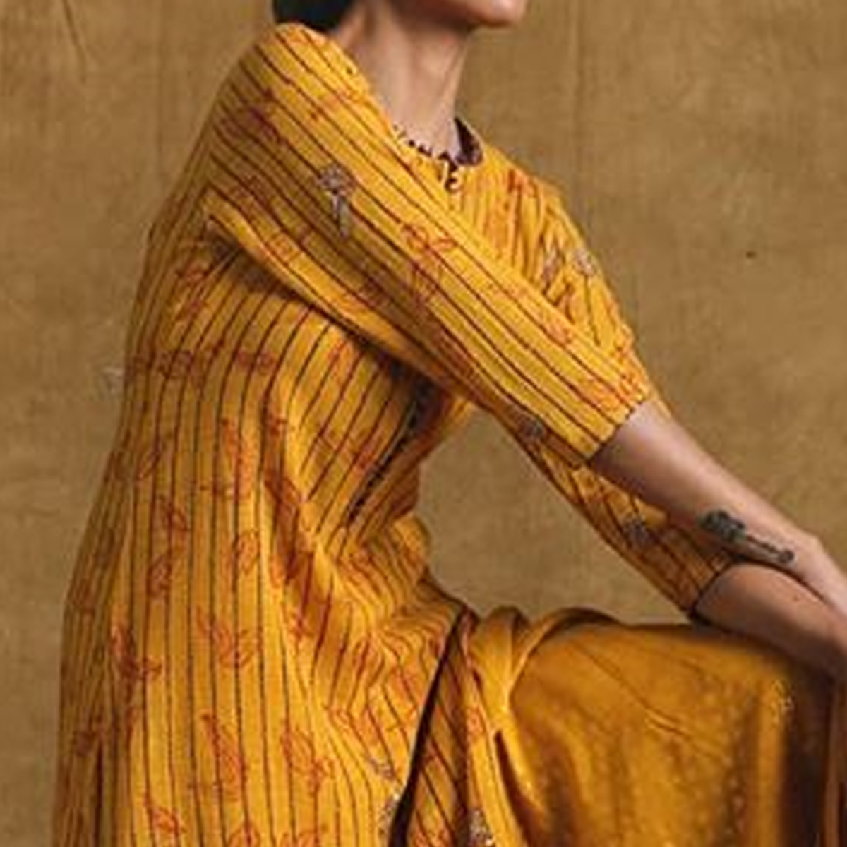 Preferable Mustard Yellow Colored Casual Wear Printed Cotton Kurti