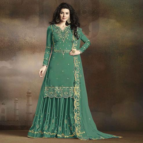 Exclusive Light Aqua Green Colored Partywear Embroidered Georgette Palazzo Suit