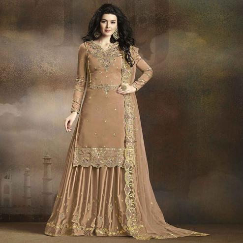 Adorning Chiku Colored Partywear Embroidered Georgette Palazzo Suit