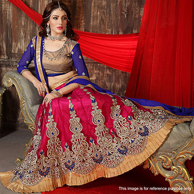 Pink - Blue Festive Wear Lehenga Choli