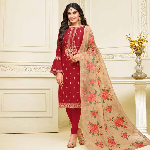 Gleaming Red Colored Partywear Embroidered Georgette Satin Suit