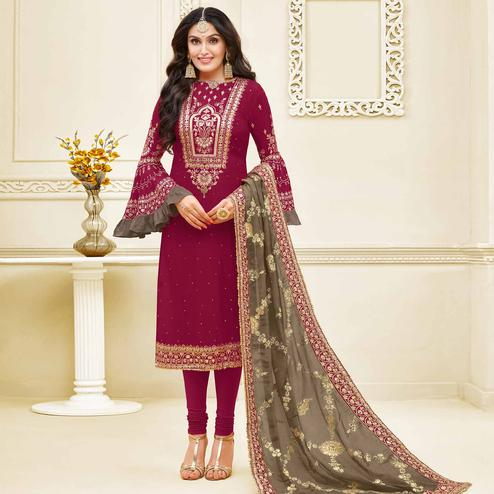 Mesmeric Magenta Pink Colored Partywear Embroidered Georgette Satin Suit