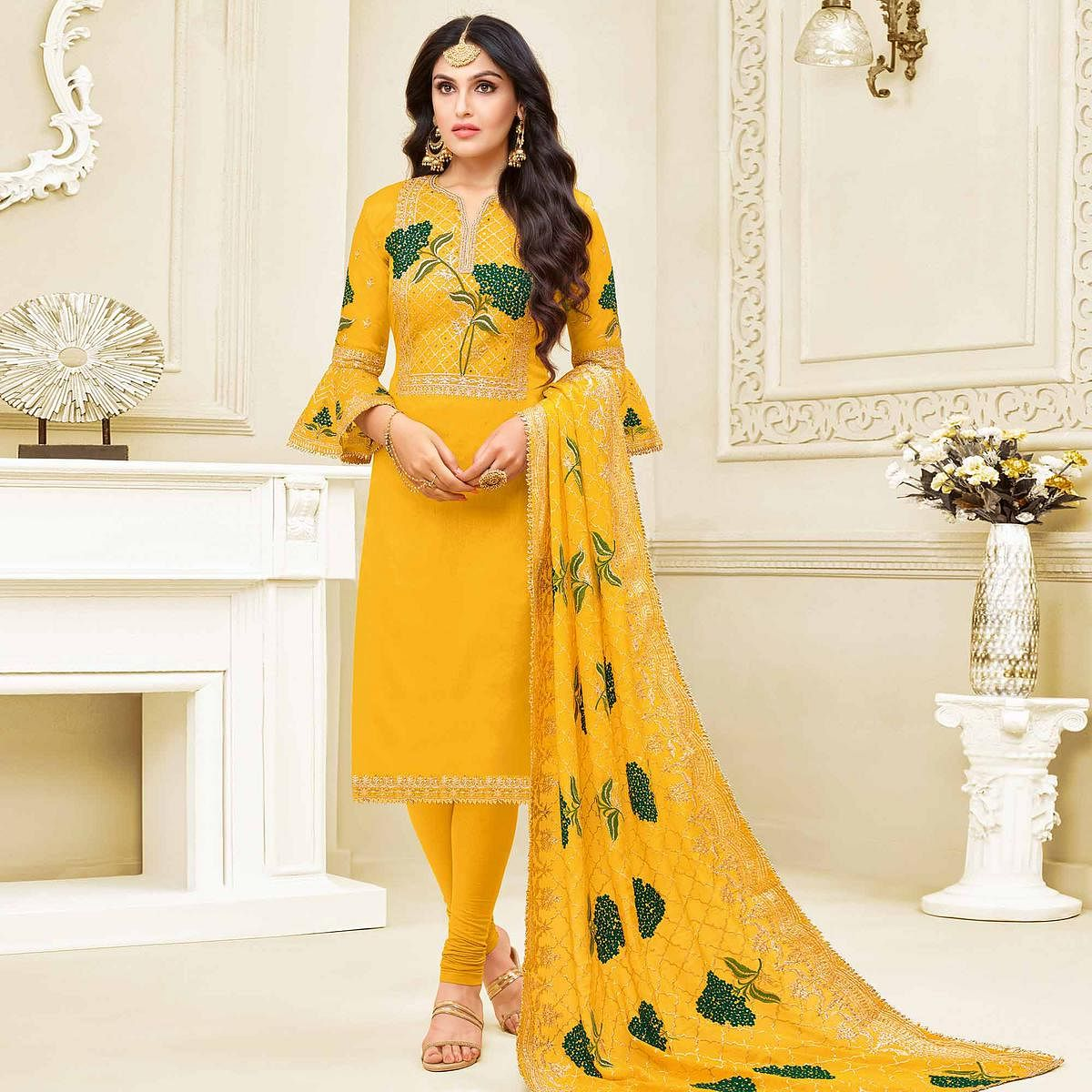 Unique Yellow Colored Partywear Embroidered Georgette Satin Suit