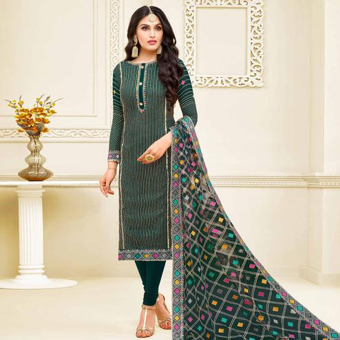 Demanding Teal Green Colored Partywear Embroidered Georgette Satin Suit