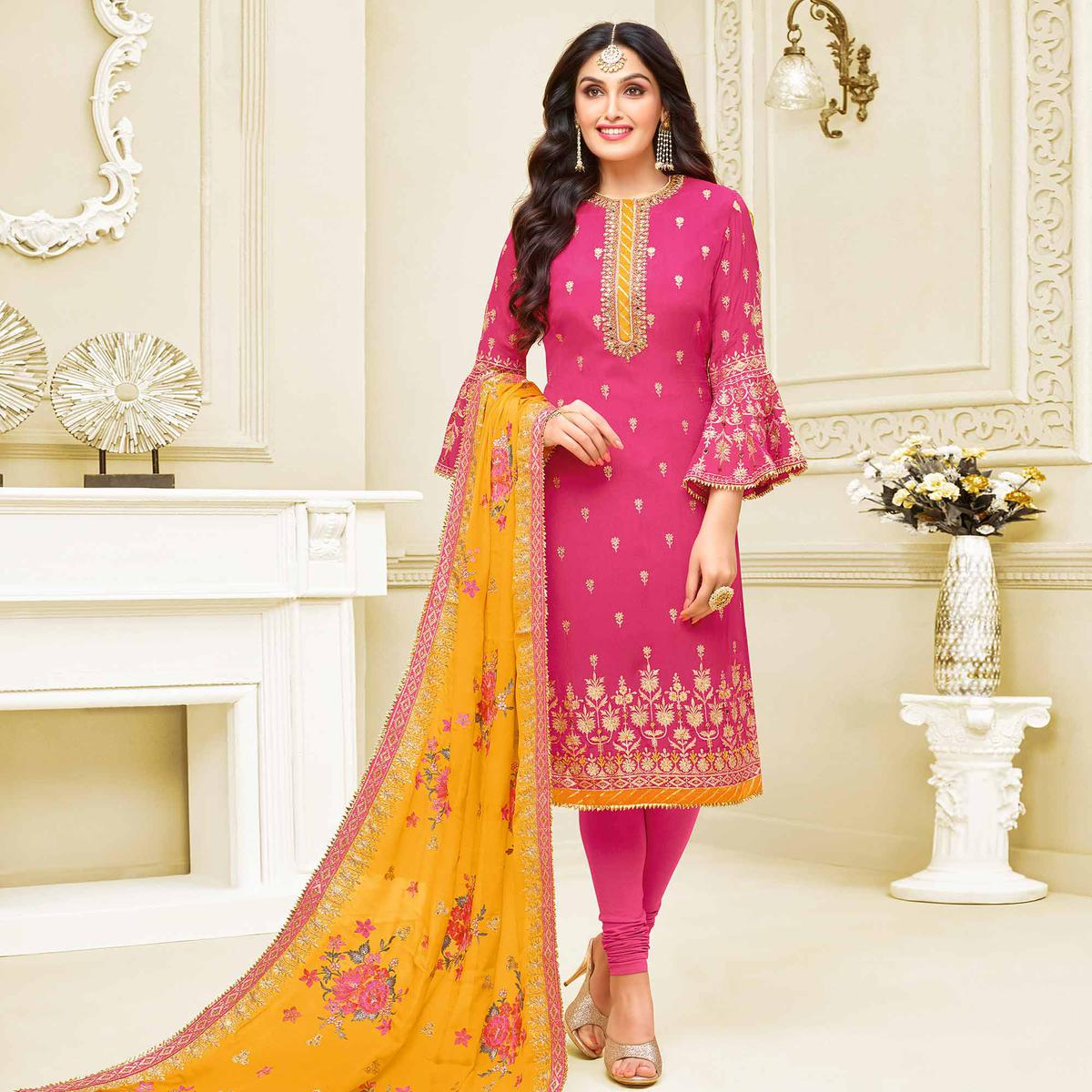 Refreshing Pink Colored Partywear Embroidered Georgette Satin Suit