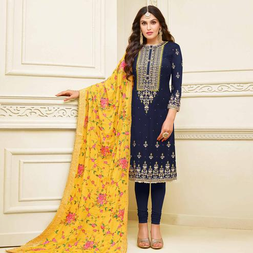Magnetic Navy Blue Colored Partywear Embroidered Georgette Satin Suit