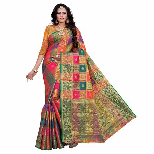 Intricate Pink-Multi Colored Festive Wear Woven Work Art Silk Saree