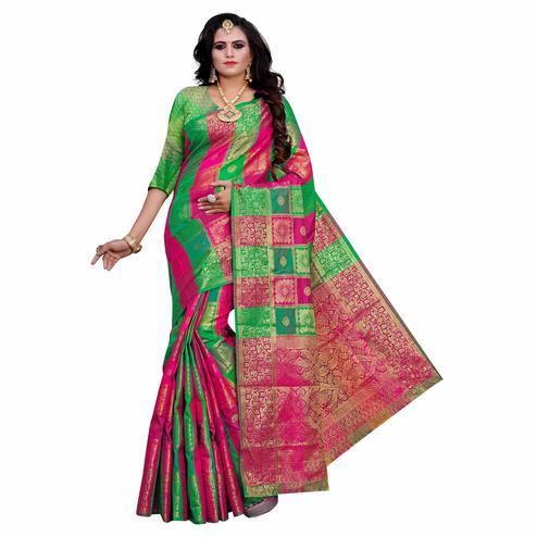 Arresting Green-Multi Colored Festive Wear Woven Work Art Silk Saree