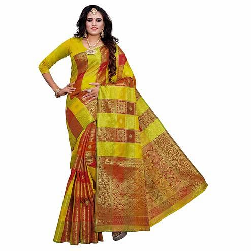 Trendy Lemon Green Colored Festive Wear Woven Work Art Silk Saree