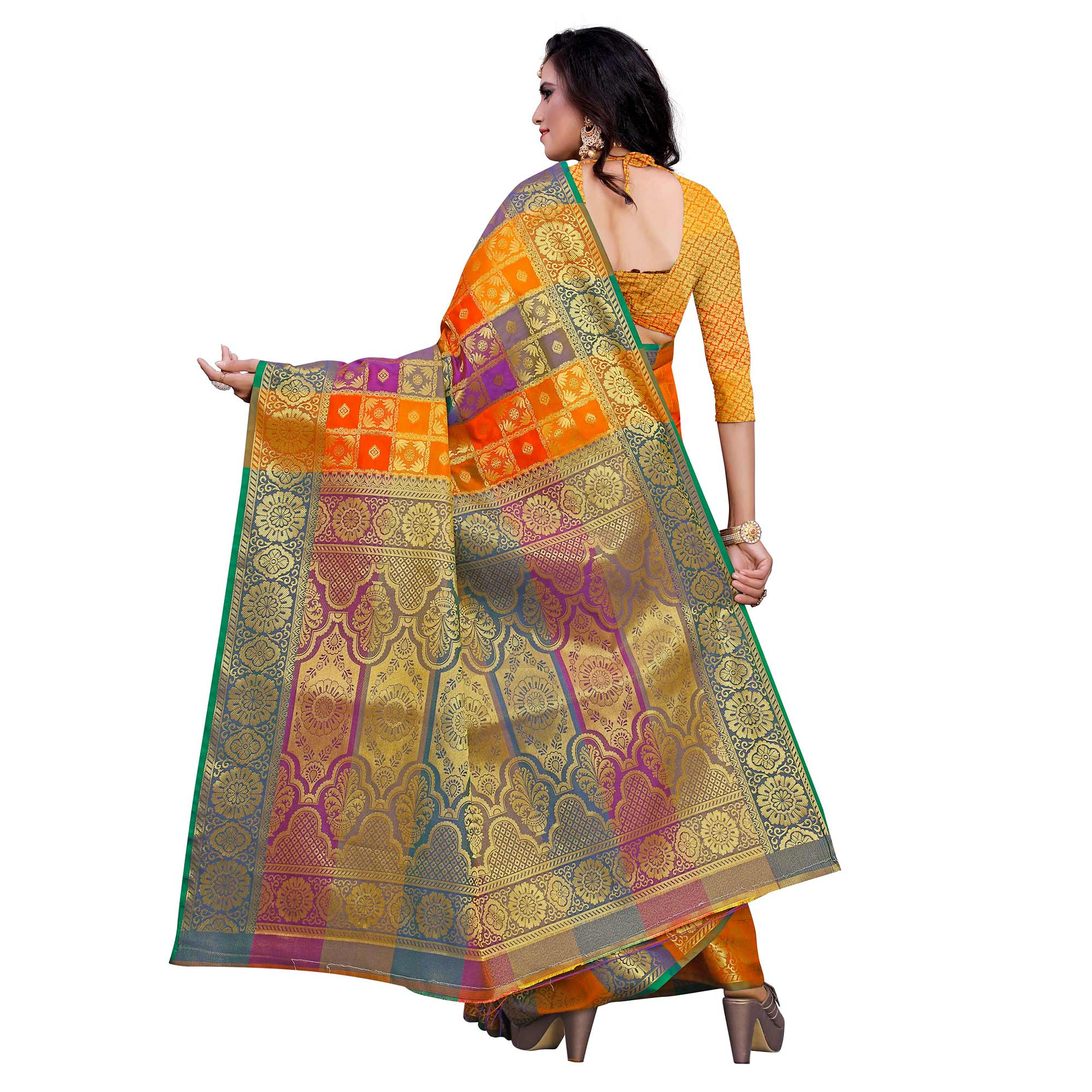Elegant Orange Colored Festive Wear Woven Work Art Silk Saree