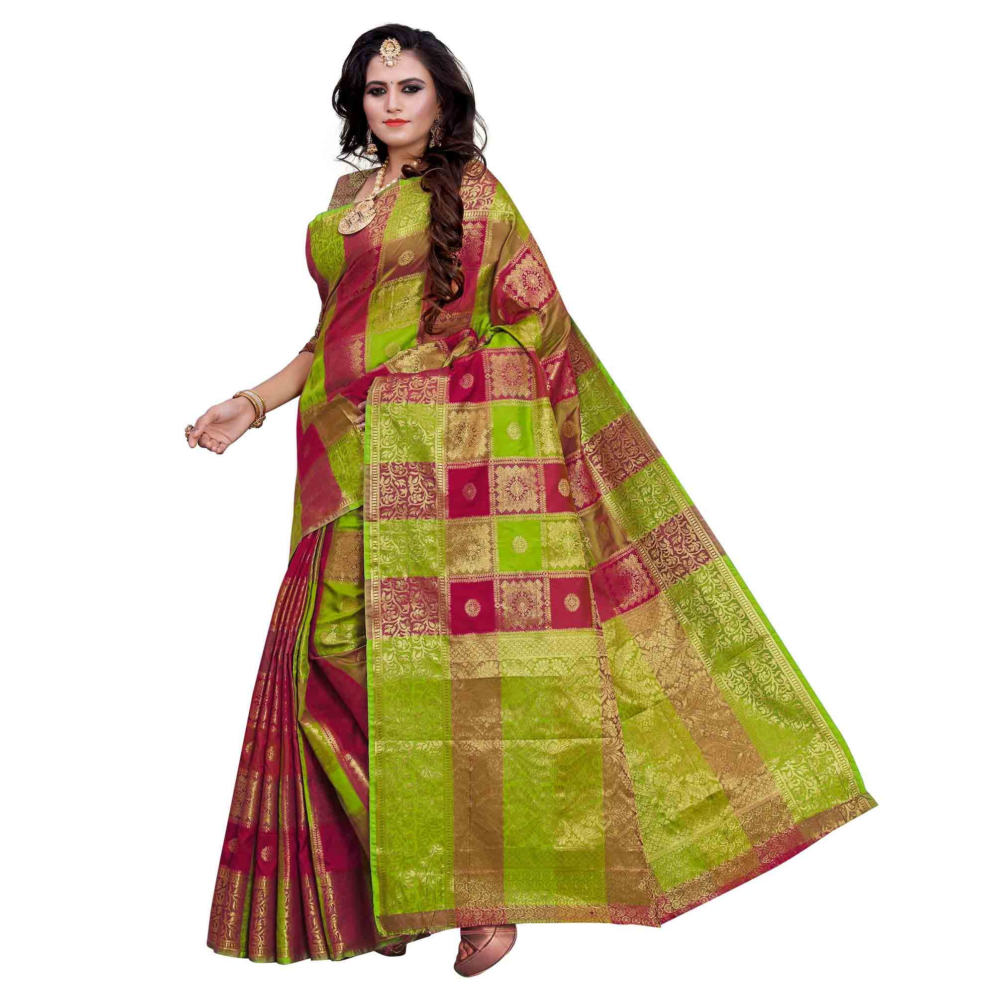 Radiant Green-Pink Colored Festive Wear Woven Work Art Silk Saree