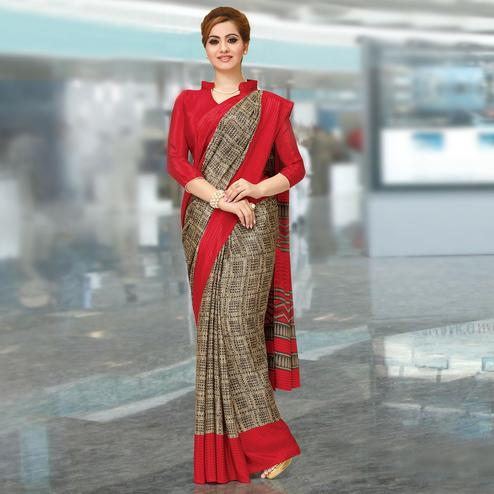 Groovy Beige-Red Colored Casual Wear Printed Crepe Saree