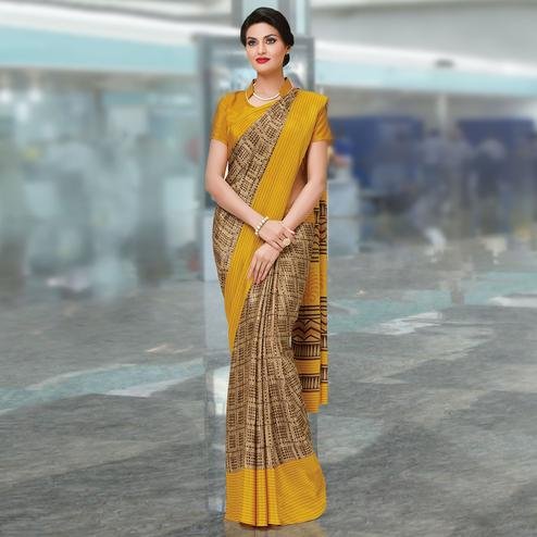 Adorning Beige-Yellow Colored Casual Wear Printed Crepe Saree
