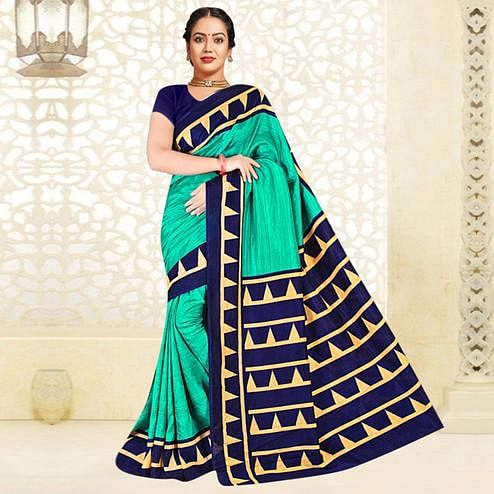 Groovy Turquoise Green Colored Casual Printed Tussar Silk Saree