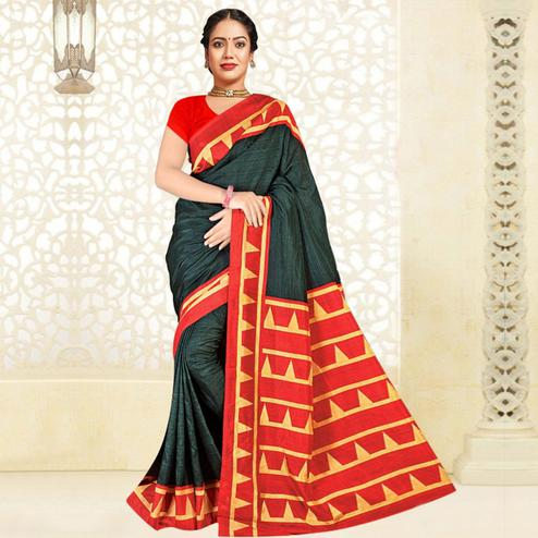 Adorning Bottle Green Colored Casual Printed Tussar Silk Saree