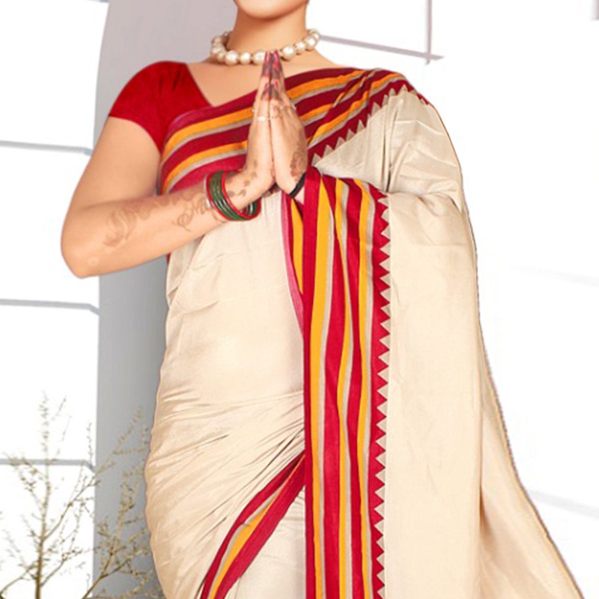 Exclusive Cream-Red Colored Casual Printed Tussar Silk Saree