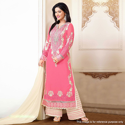 Pink Georgette Palazzo Suit