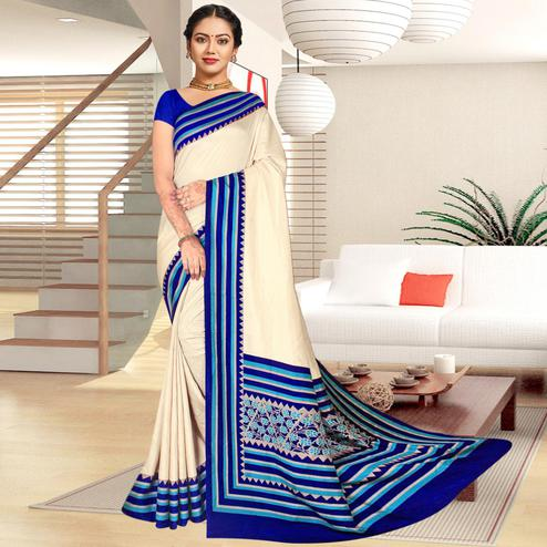Delightful Cream-Blue Colored Casual Printed Tussar Silk Saree