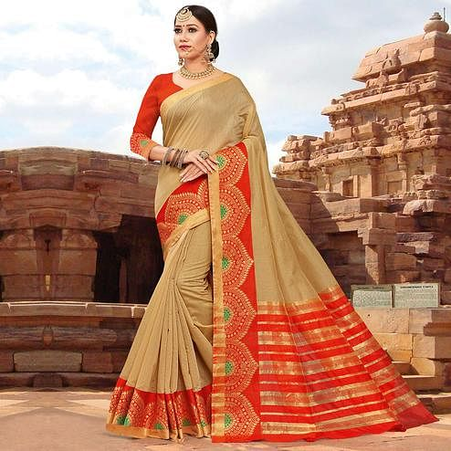 Mesmeric Beige Colored Festive Wear Woven Kanjivaram Silk Saree