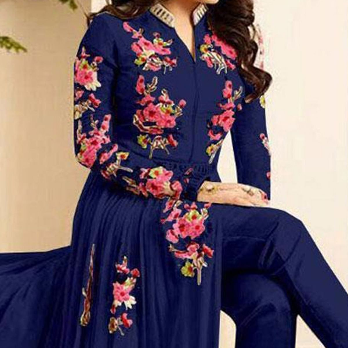 Royal Blue Floor Length Slit - Cut Indo - Western Suit
