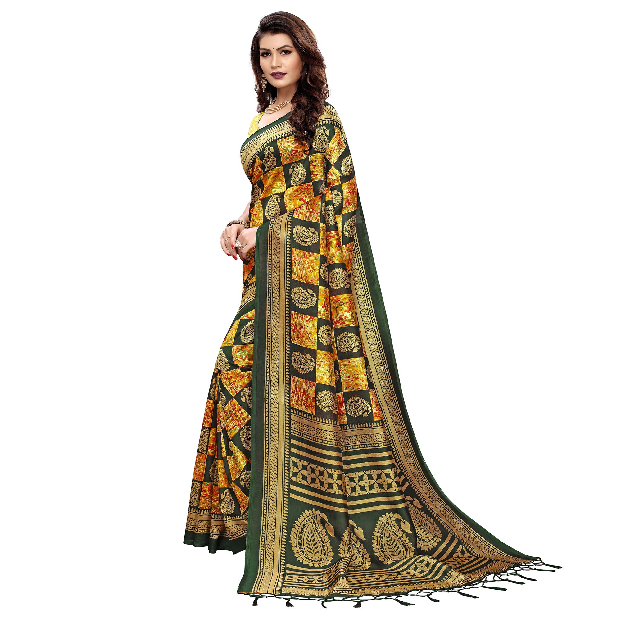 Adorning Green-Yellow Colored Festive Wear Printed Art Silk Saree