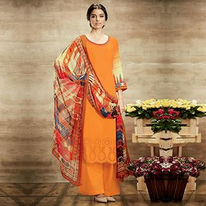Orange Pure Soft Cotton Palazzo Suit