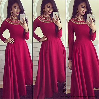 Maroon Turtle Neck Embroidered Gown