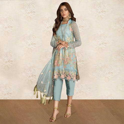 Gorgeous Light Blue Colored Party Wear Floral Embroidered Georgette Pant Style Suit
