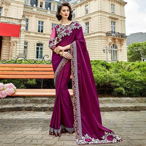Glorious Purple Colored Partywear Embroidered Sana Silk Saree