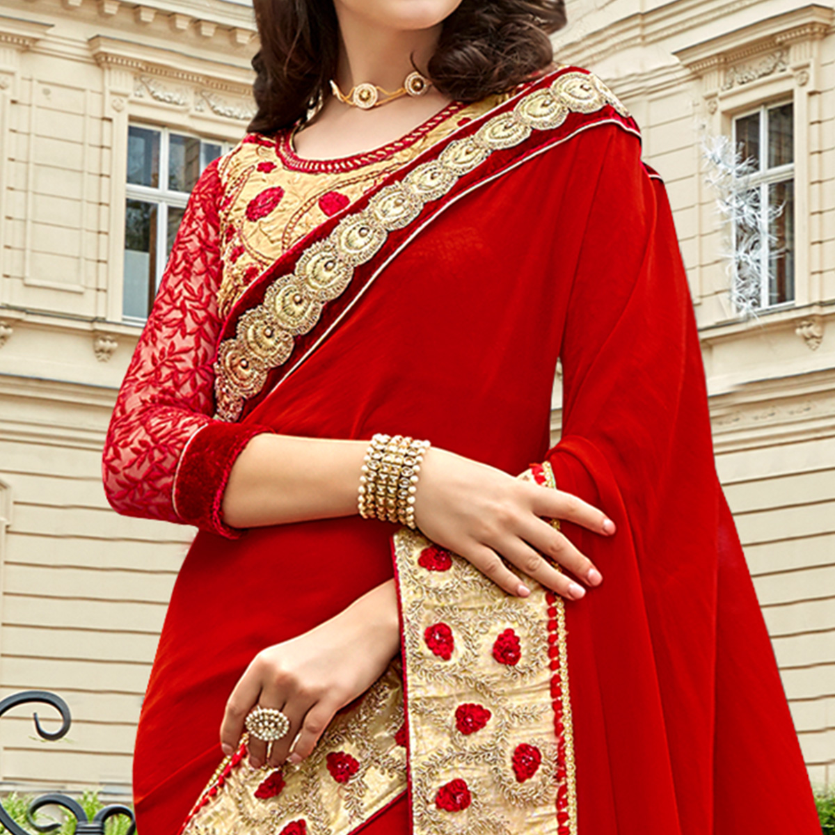 Appealing Red Colored Partywear Embroidered Sana Silk Saree