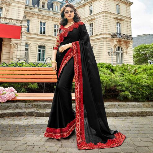 Entrancing Black Colored Partywear Embroidered Sana Silk Saree